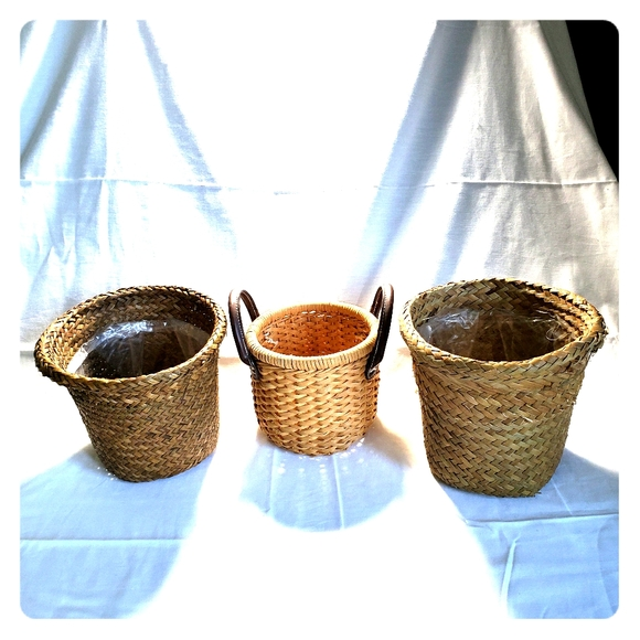 Vintage Other - Wicker Woven Plant Baskets Boho Nuetrals